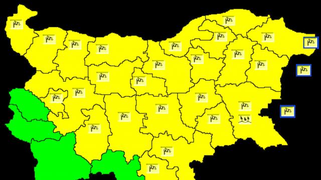 Жълт код за силен вятър в 24 области в страната, температурите се понижават