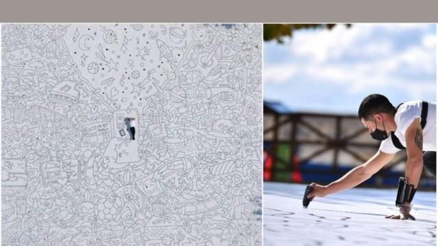 Художник направи най-голямата рисунка в света, призната за рекорд на Гинес (ВИДЕО)