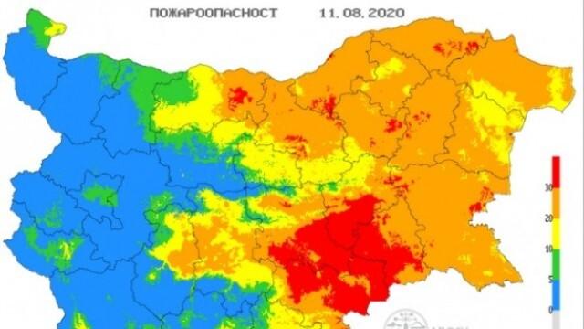 Екстремален индекс за пожароопасност в 11 области