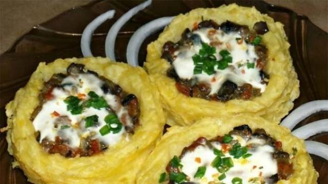 Картофени гнезда с гъби