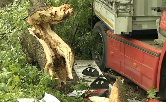 Зрелищна катастрофа: ТИР изкорени 4 дървета и заора в оградата на военно поделение край Русе (ВИДЕО)