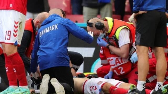 Спортсменство! Капитанът на Дания Кяер спасил живота на припадналия футболист