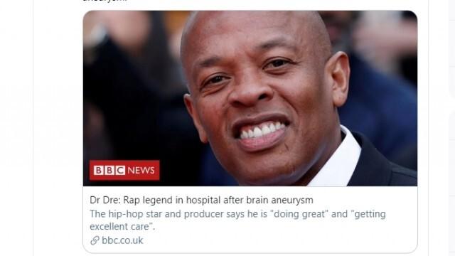 Д-р Дре в болница заради мозъчна аневризма