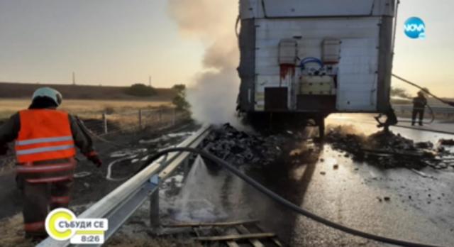 Сръбски тир изгоря на магистрала